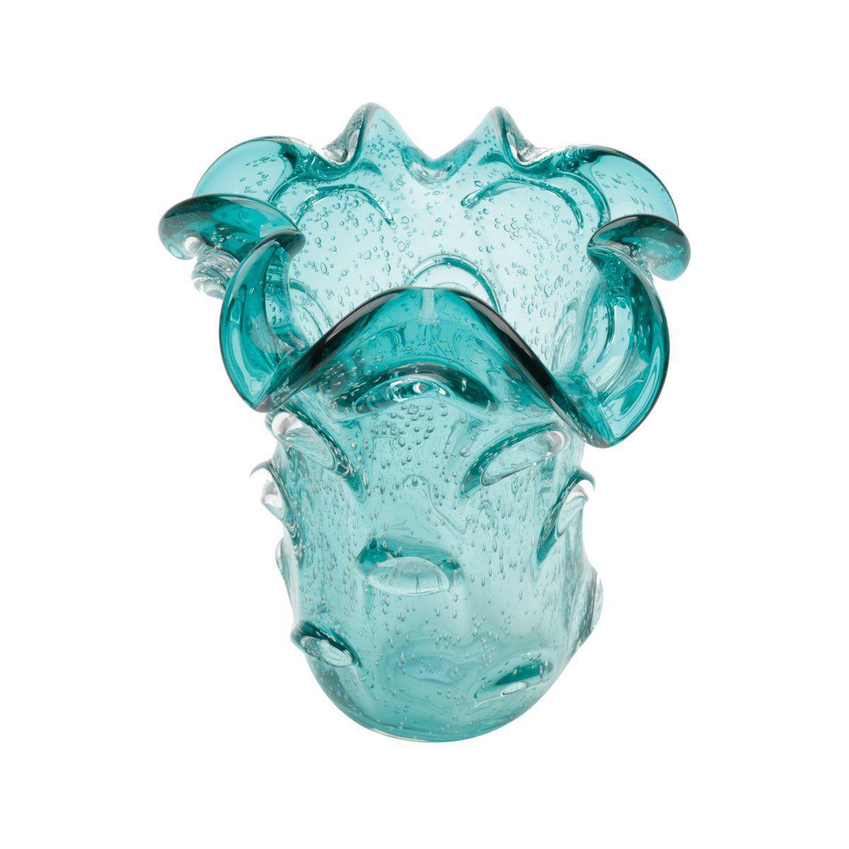 Vaso decorativo 24 cm de vidro azul tiffany Italy Lyor - L4150