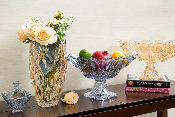 Vaso decorativo 30 cm de cristal âmbar Safir Wolff - 26049