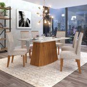 Conjunto Sala de Jantar Mesa Sorela  + 6 cadeiras Áurea - Dj Móveis
