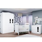 Quarto de Bebê New Crytal Com Guarda Roupa 4 Portas + Cômoda + Berço Mini Cama - Reller