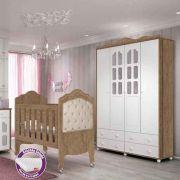 Quarto de Bebê Provence Com Guarda Roupa + Berço Mini Cama + Colchão - Planet Baby