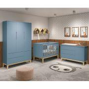 Dormitório Classic Retrô Com Guarda Roupa + Cômoda + Berço Mini Cama - Reller