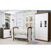 Dormitório Crytal Com Guarda Roupa 3 Portas + Cômoda + Berço Mini Cama - Reller