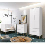 Dormitório Théo Retrô Com Guarda Roupa 2 Portas + Cômoda + Berço - Reller