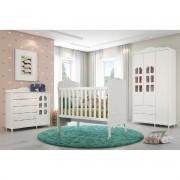 Jogo De Quarto De Bebê Com Guarda Roupa 3 Portas + Cômoda + Berço Mini Cama Provence Matic Móveis