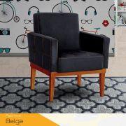 Poltrona Decorativa Base de Madeira Belga Konfort