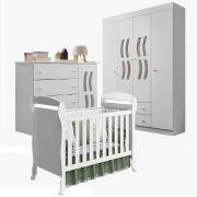 Quarto de Bebê com Berço Dan + Guarda Roupa 4 Portas + Cômoda New Livia - Phoenix Baby