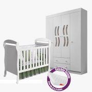 Quarto de Bebê com Berço Dan + Guarda Roupa 4 Portas New Livia + Colchão - Phoenix Baby