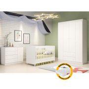 Quarto de Bebê  com Guarda Roupa 4 Portas + Cômoda Helena + Berço Mini Cama - EM Moveis