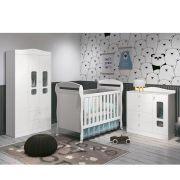 Quarto de Bebê Danny Com Guarda Roupa 3 Portas + Cômoda + Berço Mini Cama - Reller
