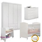 Quarto de Bebê Helena Guarda Roupa + Cômoda + Berço Mini Cama + Colchão + Berço Moises - EM Móveis