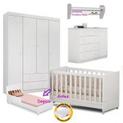 Quarto de Bebê Helena Guarda Roupa + Cômoda + Berço Mini Cama + Prateleira + Colchão - EM Móveis
