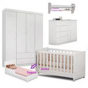 Quarto de Bebê Helena Guarda Roupa + Cômoda + Berço Mini Cama + Prateleira - EM Móveis
