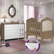 Quarto de Bebê Provence Com Cômoda + Berço Mini Cama + Colchão - Planet Baby
