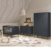 Quarto de Bebê Théo Retrô Com Guarda Roupa + Cômoda + Berço - Reller