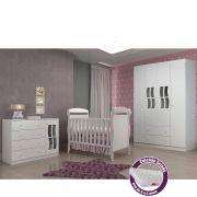 Quarto Infantil com Berço Dan + Guarda Roupa 4 Portas + Cômoda New Livia + Colchão - Phoenix Baby