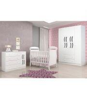 Quarto Infantil com Berço Dan + Guarda Roupa 4 Portas + Cômoda New Livia - Phoenix Baby
