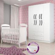 Quarto Infantil com Berço Dan + Guarda Roupa 4 Portas New Livia + Colchão - Phoenix Baby