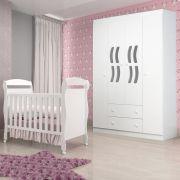Quarto Infantil com Berço Dan + Guarda Roupa 4 Portas New Livia - Phoenix Baby