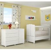 Cômoda Lorena 4 Gavetas E 1 Porta + Berço Mini Cama 230 - Phoenix Baby