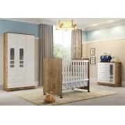 Quarto Para Bebê Com Guarda Roupas 3 Portas + Cômoda Smart + Berço Mini Cama Ninare Matic