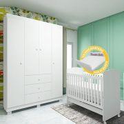 Quarto Para Bebê Emile Slim Com Guarda Roupa 4 Portas + Berço Mini Cama 230
