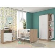 Quarto Bebê Com Guarda Roupa + Cômoda + Berço Doce Sonho - Qmovi