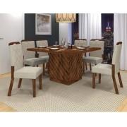 Sala De Jantar Mesa Vince + 6 Cadeiras Nevada - Dj Móveis