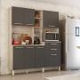 Cozinha Compacta Encanto 7 Portas e 2 Gavetas Balcão Grafito Demóbile
