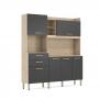 Cozinha Compacta Select 6 Portas 2 Gavetas Grafito Demóbile