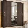 Guarda Roupa Casal 3 Portas de Correr Espelho 2 Gavetas Residence Ébano Touch Demóbile