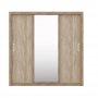 Guarda Roupa Casal 3 Portas de Correr Espelho 2 Gavetas Residence Nogal Vanilla Demóbile