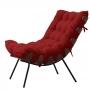 Poltrona Decorativa Costela Estrutura Madeira Base Metal  Veludo Vermelho - EM Moveis