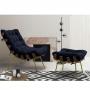 Poltrona Decorativa para Sala com Puff Costela Veludo Azul Base Metal - EM Moveis