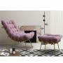 Poltrona Decorativa para Sala com Puff Costela Veludo Rose Base Metal - EM Moveis