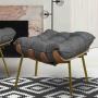 Puff Decorativo Costela Sala de Estar Base Metal Fixo Linho Grafite - EM Moveis