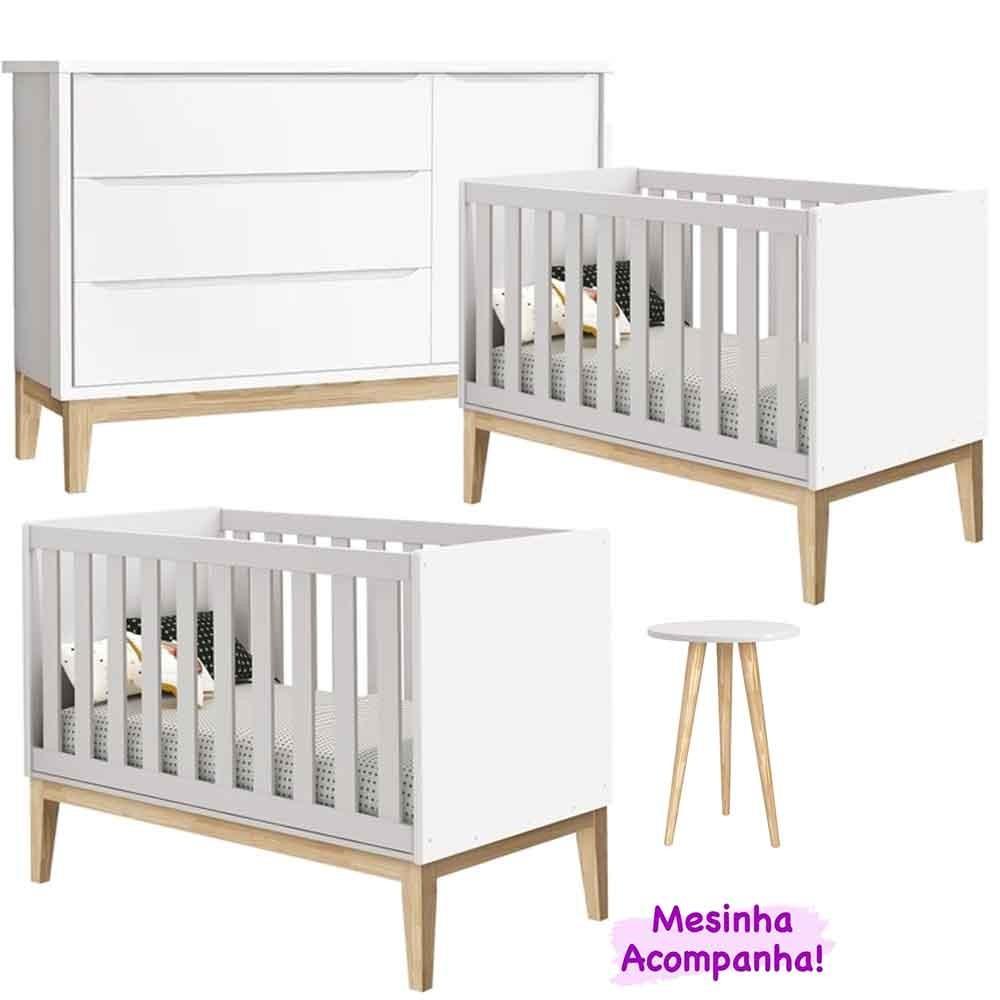 Ambiente para Gêmeos com Cômoda + Berço Mini Cama Theo Classic Branco - Reller