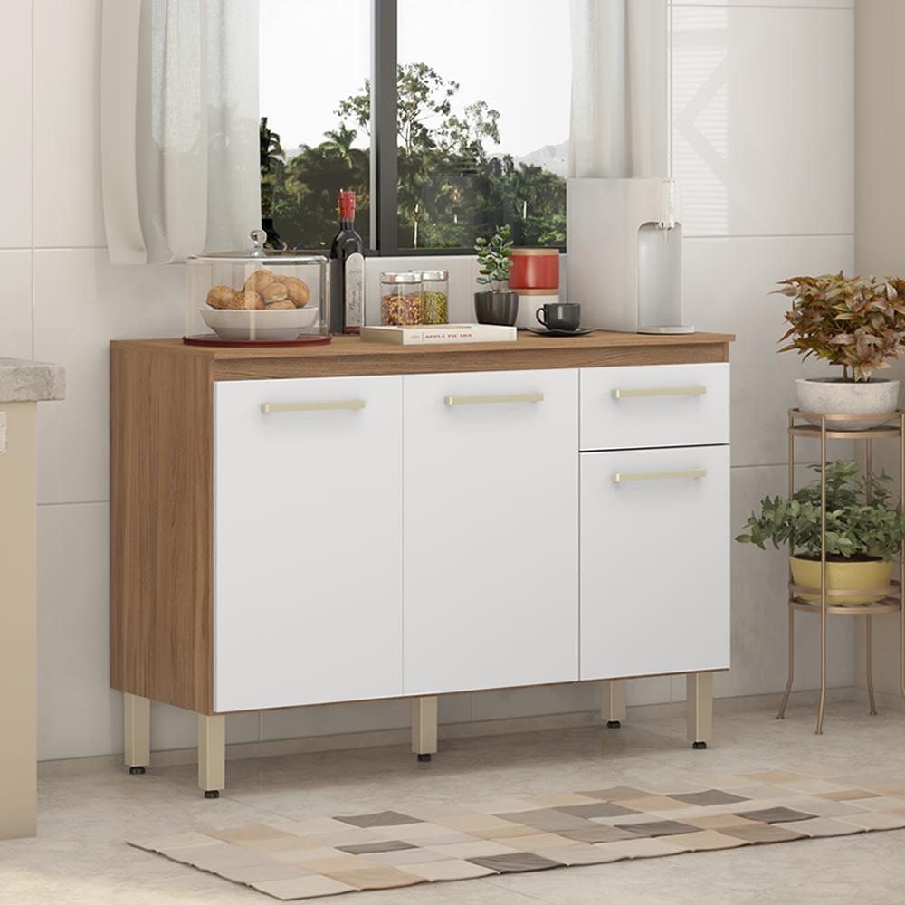 Balcão de Cozinha 3 Portas 1 Gaveta Dama Branco Demóbile
