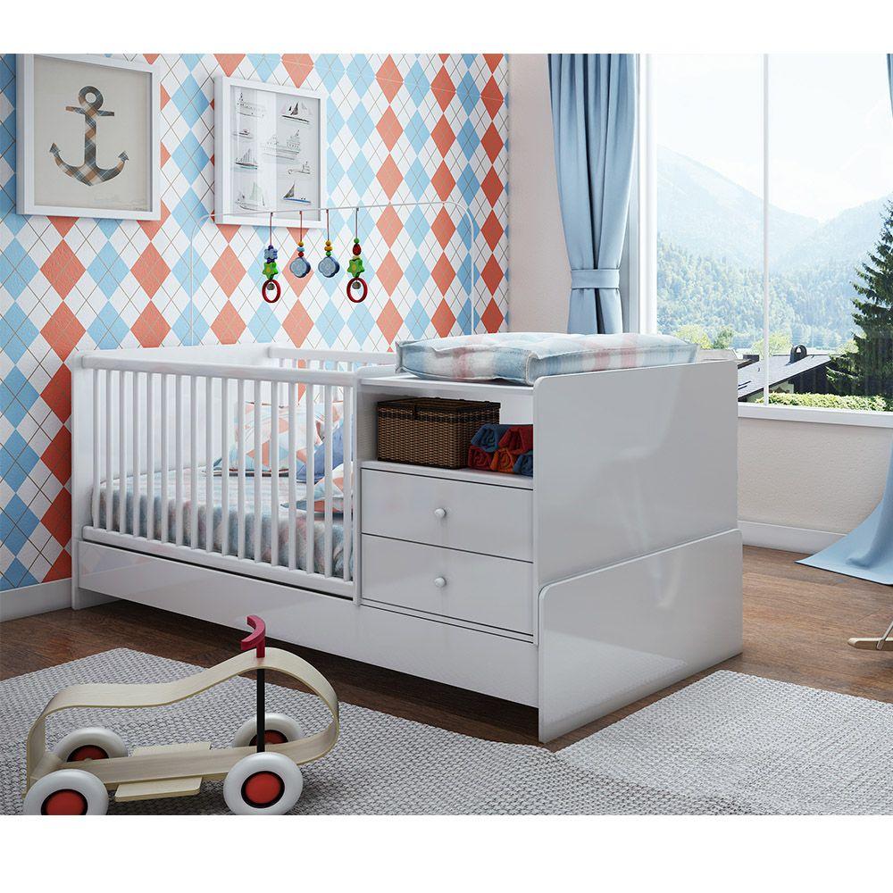 Berço Cama com 2 Criados BB 670 Branco Completa Móveis