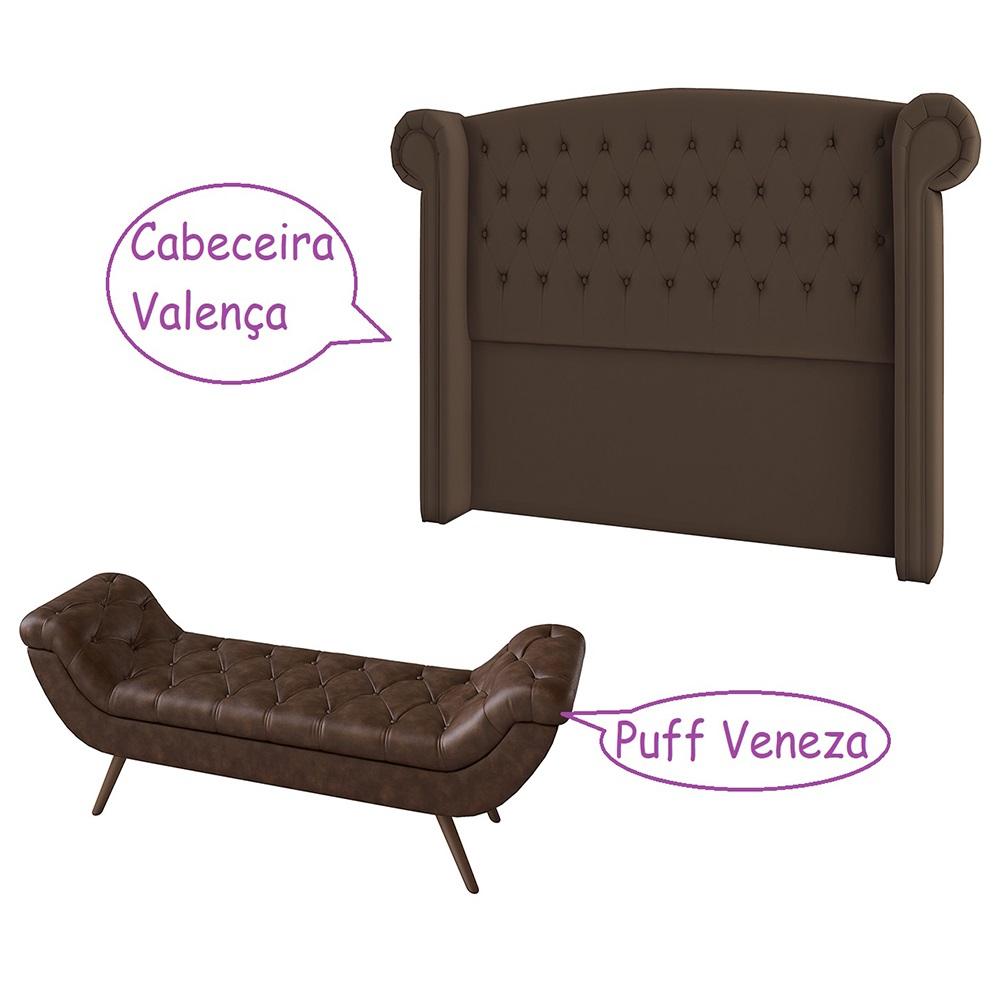 Cabeceira Para Box Casal 1,40 cm Valência + Recamier Puff Veneza - Perfan Móveis