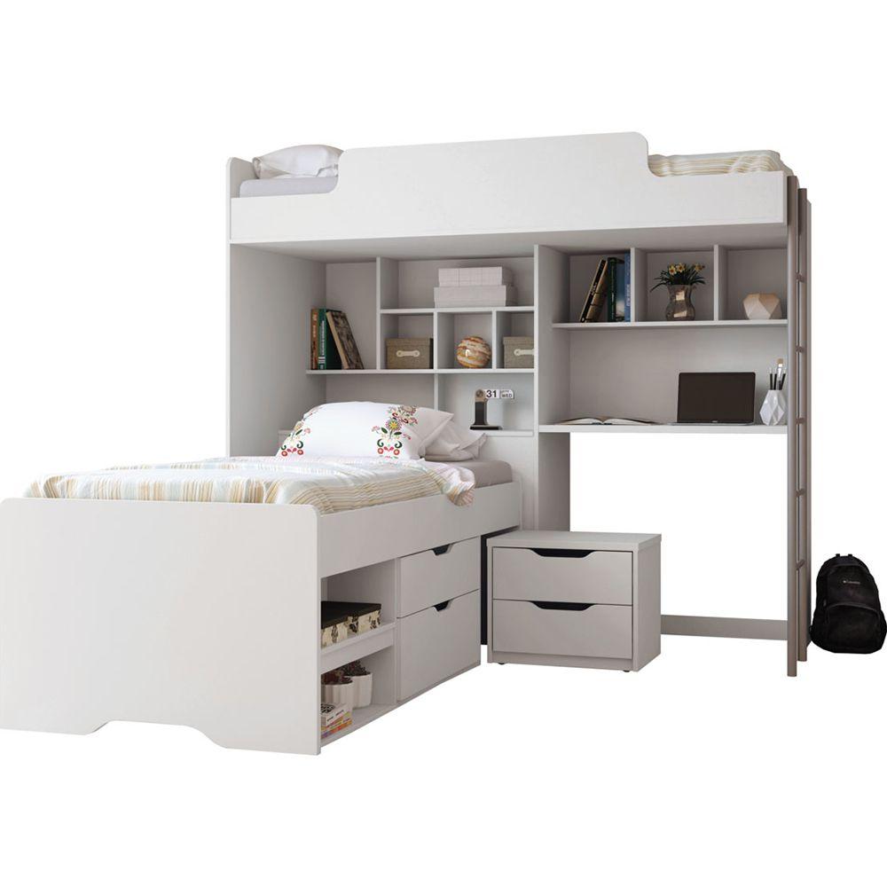 Módulo Office New + Mesa para Estudo + Cama Conect com Gavetas e Criado Mudo - Santos Andira