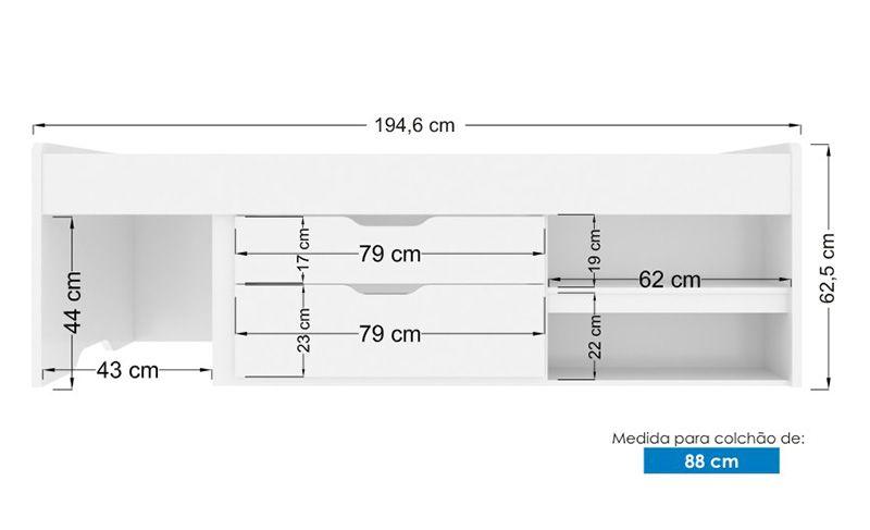 Cama Conect Com Gavetas - Branco