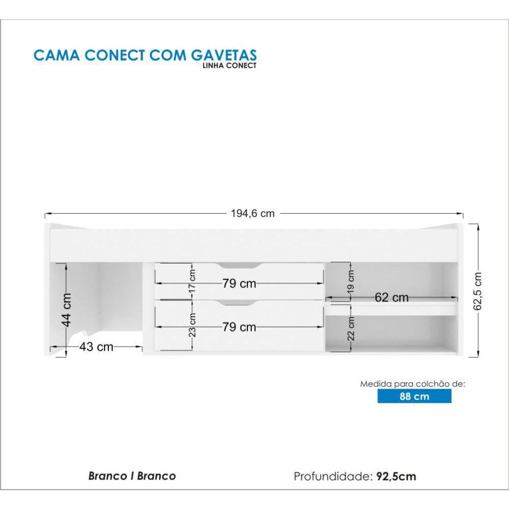 Cama Multifuncional  3 Gavetas 3 Nichos 1 Prateleira + Cama Conect com Gavetas - Santos Andira