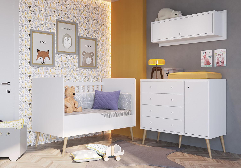Cômoda  4 Gavetas + Berço Mini cama Retro + Nicho ( BEE 061) - Branco - Completa Móveis