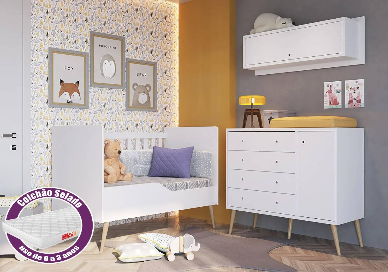 Cômoda  4 Gavetas + Berço Mini cama Retro + Nicho+ Colchão - Branco- Completa Móveis