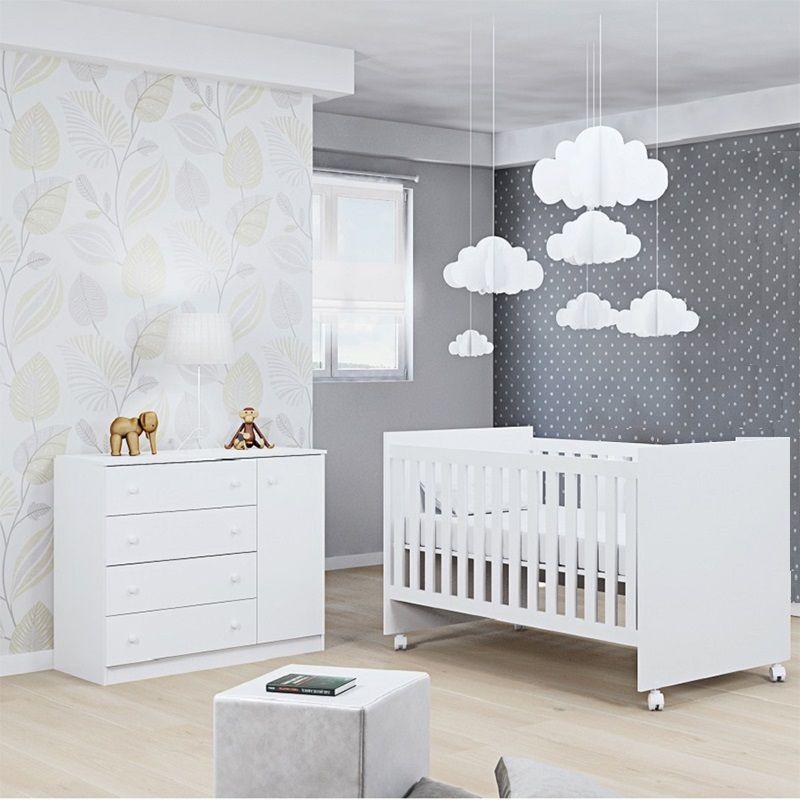Cômoda 4 Gavetas Helena + Berço Mini Cama  - Phoenix Baby