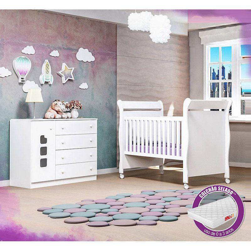Cômoda Ana Livia + Berço Mini Cama 251 + Colchão - Phoenix Baby