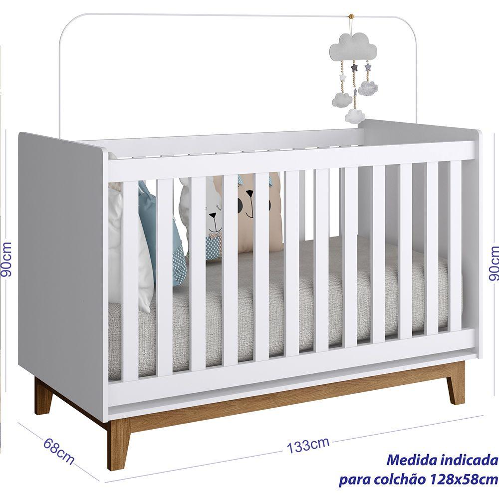 CONJUNTO INFANTIL COM BERÇO BY100 E CÔMODA  4 GAVETAS BY120  COMPLETA MÓVEIS