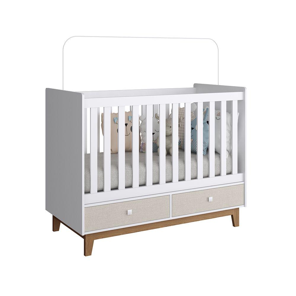 CONJUNTO INFANTIL COM BERÇO BY110 E CÔMODA 1 PORTA E 4 GAVETAS BY130  COMPLETA MÓVEIS