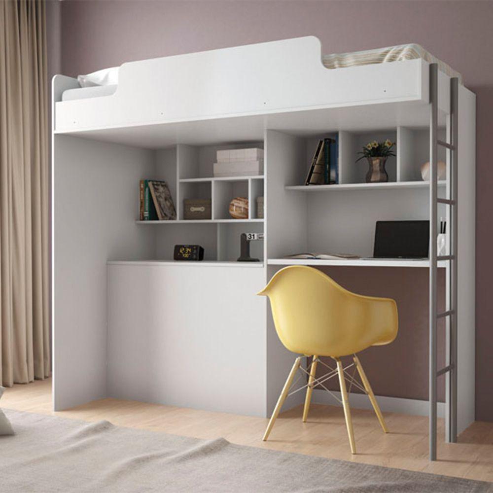 Cama Office New com Mesa para Estudo + Cama Juvenil - Santos Andira